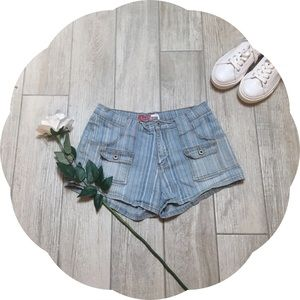 Pants - Vintage Denim Striped Jean Shorts